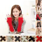 Womens Men Women Winter Warm Fingerless Knitted Long Gloves Mitten Arm Warmer