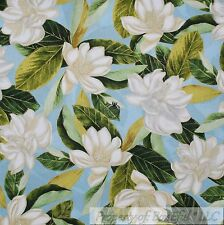 BonEful Fabric FQ Cotton Quilt VTG Blue White Gold Metallic Magnolia Tree Flower