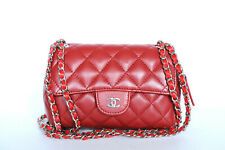 857ee63e3aaf Chanel Classic Flap Mini Quilted Mirror Red Lambskin Leather Cross Body Bag