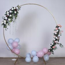 Gold 7.5 ft Round Metal Wreath Arch Backdrop Stand Wedding Events Decorations