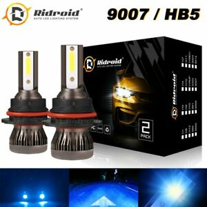Mini 9007 HB5 COB LED Headlight Bulb Conversion Kit High Low Beam 8000K Ice Blue