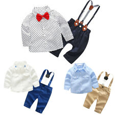 Baby Boy Tuxedo Outfit Shirts Tops Suspenders Pants Bow Tie Overall Clothes Set