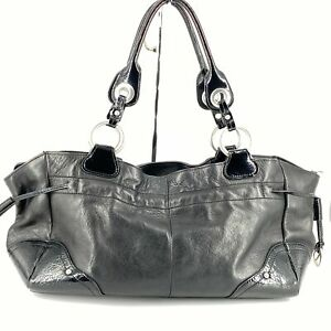Perlina Black Leather Satchel with Patent Leather Trim Top Zip
