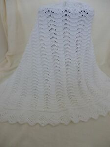 Attractive New Soft White Hand Knitted Baby Shawl/Blanket