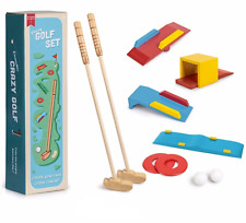 KIDS CRAZY GOLF SET Outdoor Game Kit Wooden Golf Summer Birthday Gift Toy Box UK
