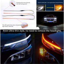 2x 60cm Dual Color Switchback Flowing Turn Signal Lamp Car DRL Driving Fog Light