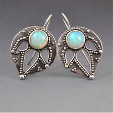 Fashion Fire GEMSTONE Wedding Proposal Hoop Dangle Stud Earrings Antique Silver
