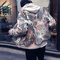 Mens Embroidered Japanese Bomber Baseball Jacket Printed Loose Sport Coat Casual