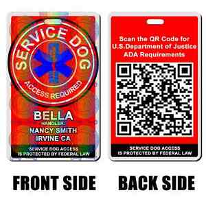 Service Dog QR CODE Badge ID Card Ascleplus RED with your pet info pet TAGS