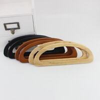 1 Pair Solid Wood D Shape Bags Handle Wooden Purse Frame Hanger DIY Handbag Bag