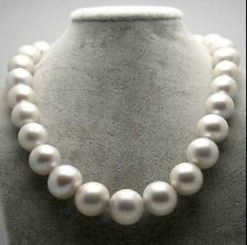 "Huge 18""12.5-15mm Natural South Sea genuine white round nuclear pearl necklace"