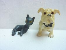 JOUET FIGURINE LOT CHIEN BULDOG ANLAIS CHAT STYLE BULLY PAPO SCHLEICH PLASTOY