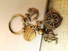 Never Never Give up! Octopus Anchor Compass Keychain Keyring Wish Charm Gift