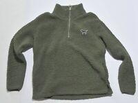 Woman's VICTORIA'S SECRET PINK Green Sweater Fleece L/S Junior Size Small S