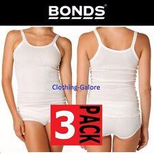 WOMENS BONDS 3 PACK CUMFY TUBE LONG RIB TOP WHITE PLUS SIZE UNDERWEAR SINGLET
