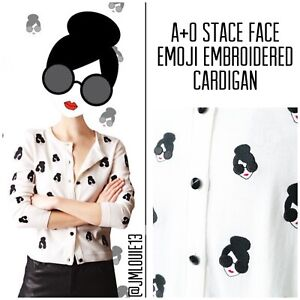 Alice + Olivia Stace Face Emoji Embroidered Cardigan Sweater $375 Sz Small 4 6