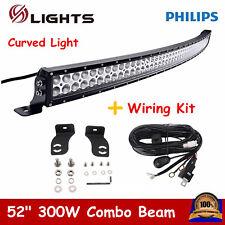 52inch 300W Curved LED Light Bar Combo Offroad 4WD Boa ATV UTV Truck+Wiring Kit