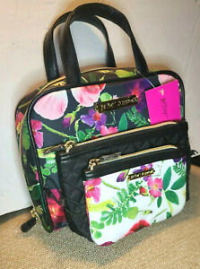 NWT BETSEY JOHNSON 3 Pc Travel Set Toiletry Carry Case Make-up Bag Tropical