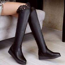 New Womens lady Flats Fashion pull on Lace Casual Knee High Stretch Boots shoes