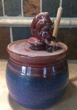 Blue BEAR HONEY POT Jar & Dipper Hand Thrown Signed Studio Art Pottery Handmade