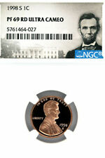 USA - 1998 S - ONE CENT - LINCOLN CENT - NGC PF 69 RD ULTRA CAMEO - DESCUT