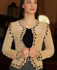 AMAZING Spiegel Suede Leather Moto Boho Jacket 4 EYELET CROP XS S 2 4 TAN GROMET