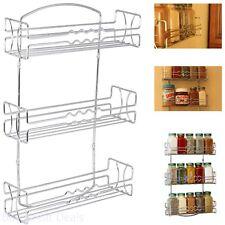 Kitchen RV 3 Tier Shelf Wall Mounted Spice Jar Rack Storage Cabinet Chrome Steel