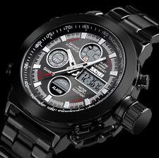 XL SKM Analog Digital Herren Armband Uhr Schwarz Chronograph grünes Licht