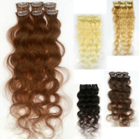 "6Pcs Body Wavy 20""Long 12""Wide 30g Clip In Remy Real 100% Human Hair Extension N"