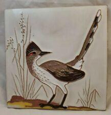 MCKUSICK pottery tile Gaskins Gila arts Bird roadrunner Rare 6 x 6