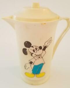 Vintage 60s Mickey Mouse Childs Toy Plastic Coffee Or Tea Pot w/ Lid Disney !