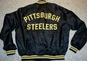PITTSBURGH STEELERS VINTAGE TEAM ISSUE JACKET SIZE LARGE ALL SEWN AWESOME !!