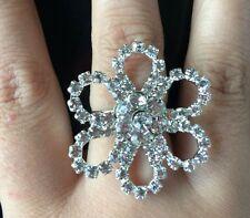 Women Silver Clear full Crystal Rhinestone flower Ring Wedding Party Adjustable