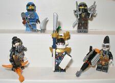 5 Figuren Lego Ninjago Jay,Cole, Samurai X, Heavy Metal, Jet Jack mit Waffen Neu