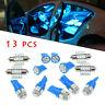 13pcs Car Interior LED Light Bulbs For Dome Map License Plate Lamp Kit Blue ynsv