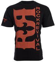 ROCK REVIVAL Mens T-Shirt DOUBLE R Premium Fit BLACK ORANGE Jeans $44 NWT
