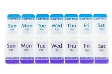 Pill Dispenser Reminder AM/PM 7 Day Tablet Medicine Organizer Case Non-Skid Box