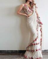 Lattest White Soft Net Ruffle Designer Women Saree Party and Casual Wear Sari