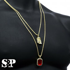 Men Iced Out 14k Gold Plated 2 pcs Ruby & Jesus Pendant, 30 & 24 Rope Chain set