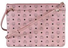 New MCM Coated Canvas Soft Pink Visetos Spectrum Flat Crossbody Purse Pouch