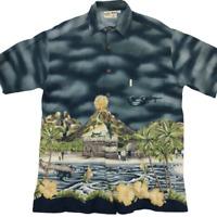 Koko Island Men's Medium Gray Hawaiian Short Sleeve Shirt Cotton Rayon Beach
