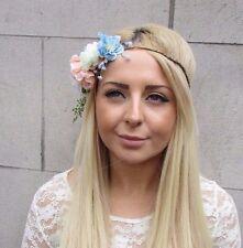 Blush Pink White Blue Rustic Flower Garland Headband Hair Crown Bridal Boho 2456