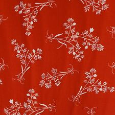 WHITE FLORAL ON RED 100% Cotton Quilt Fabric *by the 1/2 yard* BTHY
