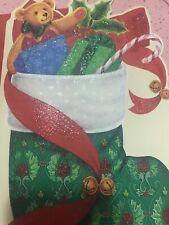 Unused Christmas Card American Greetings Matching Envelope Glitter Stocking Bear