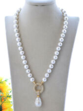 "P7681 20"" 22mm White Keshi & Round shell Pearl Necklace Pendant CZ"