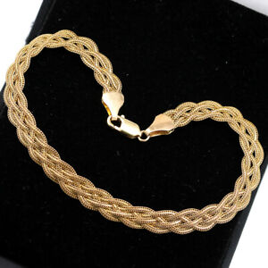 Solid 9ct Yellow Gold Flat Bracelet 7.5'