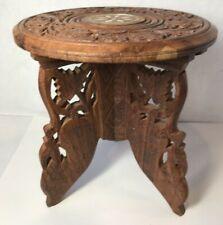 Wood Round Stand India Sheesham Bone Inlay Flower Hand Carved Vintage (C)