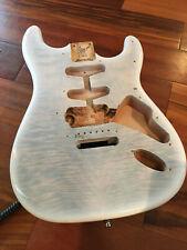 Warmoth Trans White Flame Maple Top Alder Fender Strat Body HSS Contour Heel