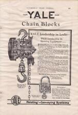 1927 Yale Auto Chain Block Ad / Yale & Tower Lock Co /