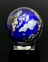 1992 LUNDBERG STUDIOS Hand Crafted ART Glass WORLD GLOBE Earth PAPERWEIGHT